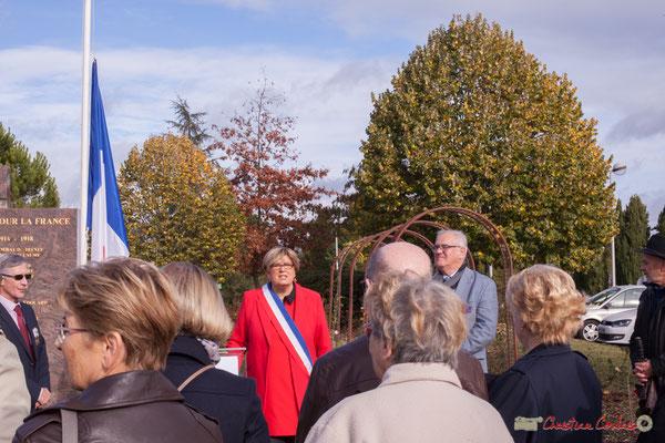 Accueil de Catherine Veyssy, Maire de Cénac. Commémoration du 11 novembre 1918, 11/11/2017