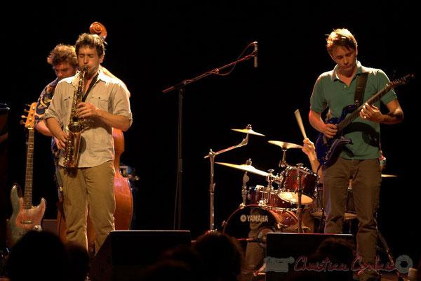 Philippe Siffre, Paul Robert, Mathias Monseigne; Edmond Bilal Band, Festival JAZZ360 2013, Cénac. 07/06/2013