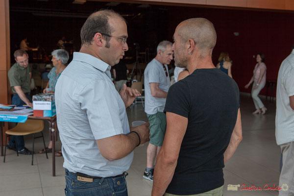 Christophe Miqueu et Jean Foussat, l'organisateur musical de cet magnifique concert de soutien des Insoumis de la 12ème circonscription de la Gironde. 28/05/2017, Targon