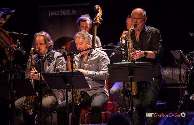 Stéphane Guillaume, Sylvain Beuf, David El-Malek; Medium Ensemble 3 de Pierre de Bethmann. Festival JAZZ360 2019, Cénac. 07/06/2019