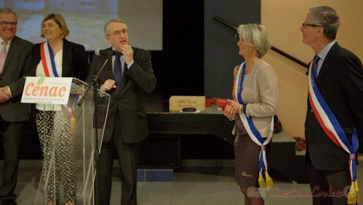 Jean-Michel Bédécarrax, Secrétaire Général de la préfecture de la Gironde; Simone Ferrer et Gérard Pointet; Honorariat des anciens Maires de Cénac, vendredi 3 avril 2015
