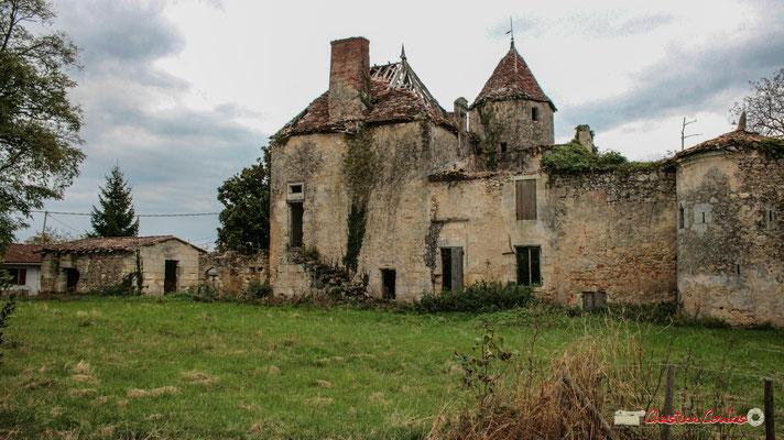 Tour ronde du XVIIème siècle, surmontée d'un toit conique couvert de tuiles dont les chevrons reposent sur un encorbellement mouluré. Château de Montignac, Cénac. 21/12/2009
