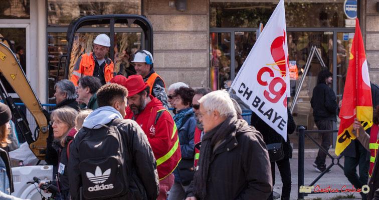 14h26 CGT Centre hospitalier de Blaye. Manifestation intersyndicale de la Fonction publique/cheminots/retraités/étudiants, place Gambetta, Bordeaux. 22/03/2018