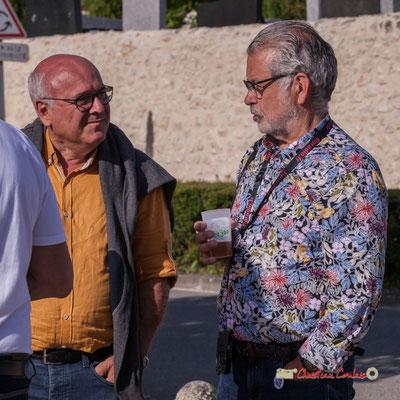 Philippe Desmond, (à droite), chroniqueur de la Gazette Bleue d'Action Jazz. Jujubees Swing Combo. Festival JAZZ360, Cénac. 08/06/2019