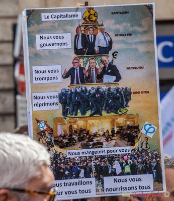 """""""Le capitalisme, nous vous gouvernons, nous vous trompons, nous vous réprimons, nous mangeons pour vous. Le peuple, nous travaillons pour vous tous, nous vous nourrissons tous."""" Place Gambetta, Bordeaux, 12/09/2017"""