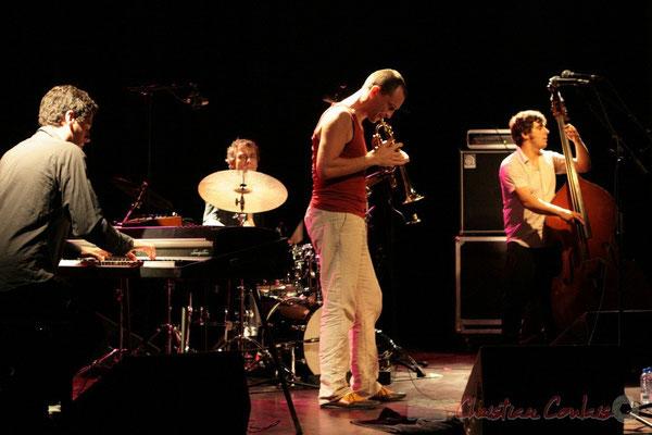 """Franck Woeste, Philippe Gleizes, Médéric Collignon, Frédéric Chiffoleau; Médéric Collignon """"Jus de Bocse"""". Festival JAZZ360 2011, Cénac. 04/06/2011"""