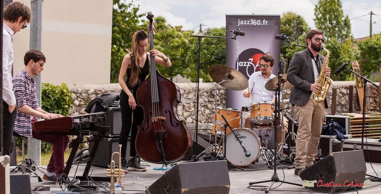Paolo Chatet, Robin Magord, Laure Sanchez, Nicolas Girardi, Jonathan Bergeron; Atelier Jazz du conservatoire Jacques Thibaud. Festival JAZZ360 2018, Quinsac. 10/06/2018