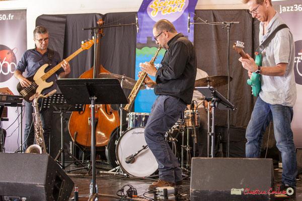 Christophe Jodet, Alain Coyral, Christophe Maroye; Serge Moulinier Quintet. Festival JAZZ360 2018, Camblanes-et-Meynac. 09/06/2018