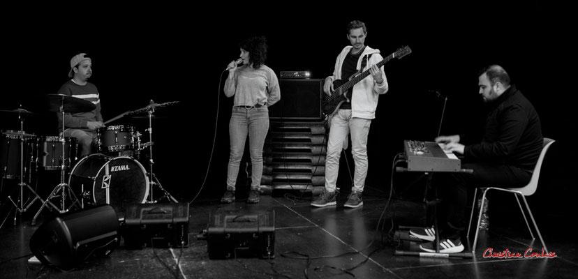 Nicolas Girardi, Emmeline Marcon, Flavien You, Tony Kebbeh; Aurora Quartet. Salle culturelle de Cénac. Jeudi 22 avril 2021. Photographie © Christian Coulais