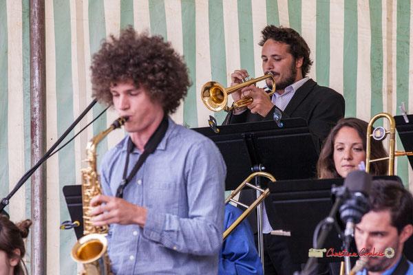 Louis Gachet (trompette); Big Band du Conservatoire Jacques Thibaud. Festival JAZZ360 2019, parc du château de Pomarède, Langoiran. 06/06/2019