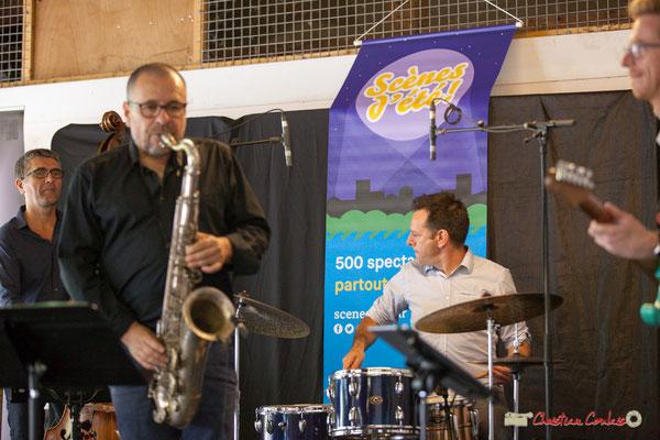 Christophe Jodet, Alain Coyral, Didier Ottaviani; Serge Moulinier Quintet. Festival JAZZ360 2018, Camblanes-et-Meynac. 09/06/2018
