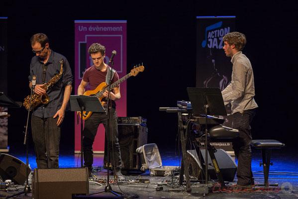 Julien Dubois, Ouriel Ellert, Simon Chivallon, quartet Le JarDin. Tremplin Action Jazz 2017. Le Rocher de Palmer