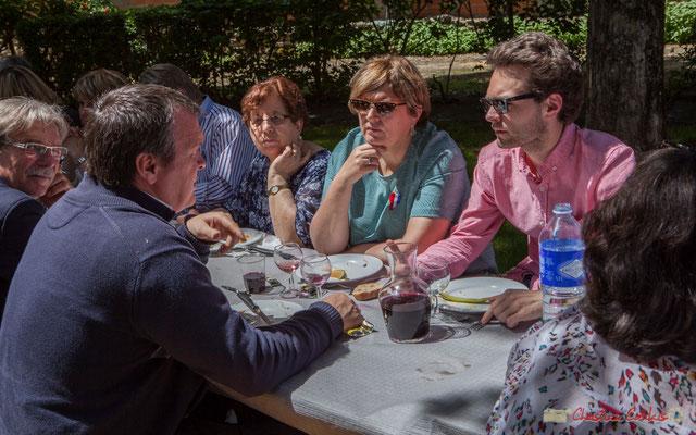 Bruno Marty, Catherine Veyssy et son fils. Tous avec Martine...Faure et Jean-Marie Darmian, dix ans de députation et un jubilé d'engagements politiques. 14 mai 2017, Blasimon