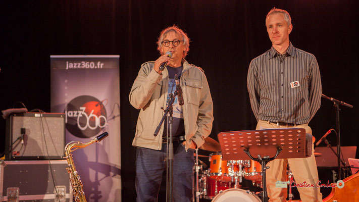 """Richard Raducanu, Président de l'association JAZZ360 & Sébastien Murard, """"Docteur Nietzsche fait son grand huit"""", Festival JAZZ360, Saint-Caprais-de-Bordeaux, 05/06/2019"""