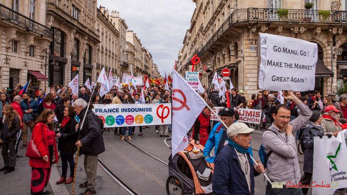 11h17 Arrivée de la France insoumise, place de la Comédie, Bordeaux. 01/05/2018