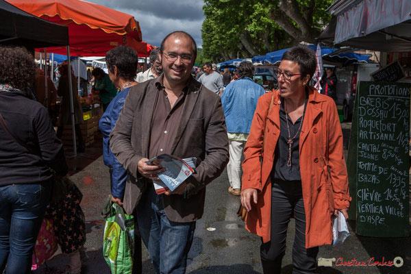 Christophe Miqueu, candidat aux élections législatives, Nathalie Chollon-Dulong suppléante, 12ème circonscription de la Gironde. La Réole, 20 mai 2017