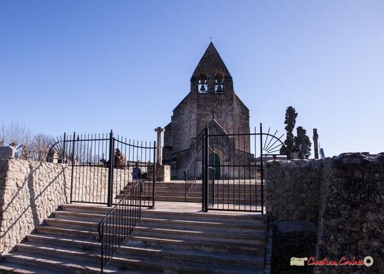 Eglise Saint-André, Cénac. Cadrage selon carte postale ancienne. 10/02/2018