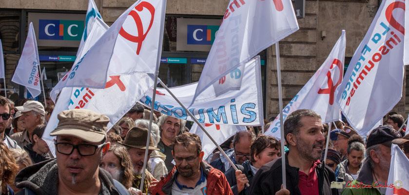 La France Insoumise organise le défilé le 23 septembre 2017 à Paris. Manifestation contre la réforme du code du travail. Place Gambetta, Bordeaux, 12/09/2017
