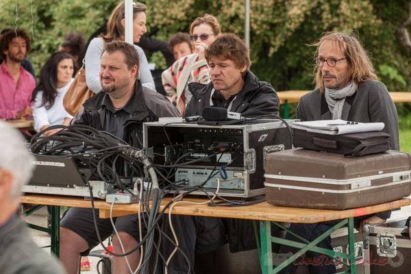 A la gauche de Pablo Jarraute, Benoît de Radio Entre-Deux-Mers. Festival JAZZ360 2016, Quinsac, 12/06/2016