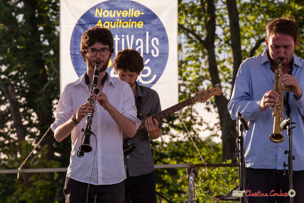 Clément Meunier, Gaspard Colin, Louis Billette; Oggy & The Phonics. Festival JAZZ360 2018, Langoiran. 07/06/2018