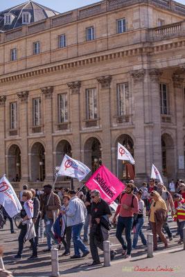 France insoumise / Solidaires. Manifestation intersyndicale de la Fonction publique, place de la Comédie, Bordeaux. 10/10/2017