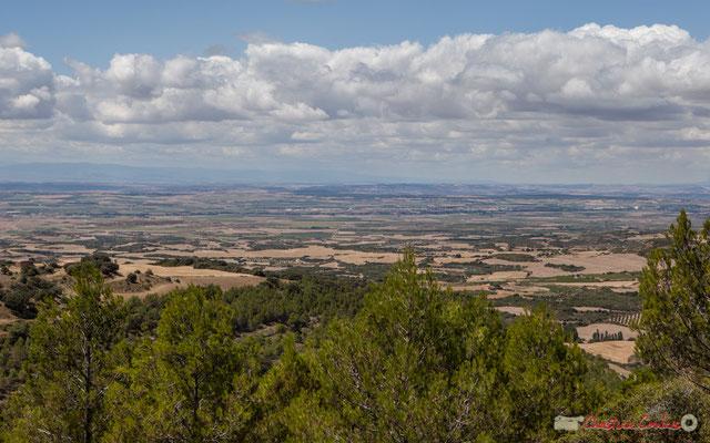 Plaine de la Ribera et piémont de la cordillère pyrénéenne depuis un point de vue proche d'Ujué, Navarre, Espagne