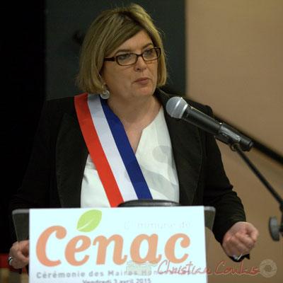 Catherine Veyssy, Maire de Cénac, Vice-présidente du Conseil régional d'Aquitaine. Honorariat de Simone Ferrer et Gérard Pointet, anciens Maires de Cénac, vendredi 3 avril 2015