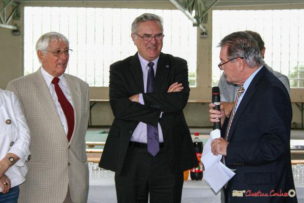 Guy Georges; Jean-Marie Darmian; Philippe Madrelle. Vin d'Honneur opération arbres de la laïcité, Créon. 19/06/2010