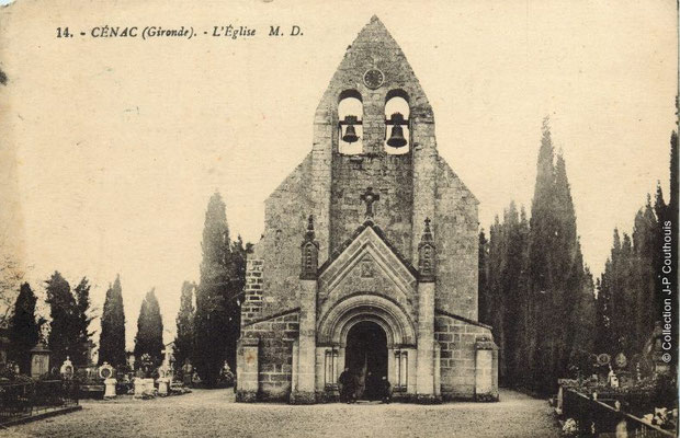 L'église Saint-André 1913. Cénac d'antan. Collection Jean-Pierre Couthouis