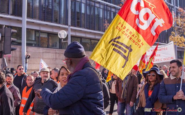 CGT Fédération des cheminots. Manifestation intersyndicale contre les réformes libérales de Macron. Cours d'Albret, Bordeaux, 16/11/2017