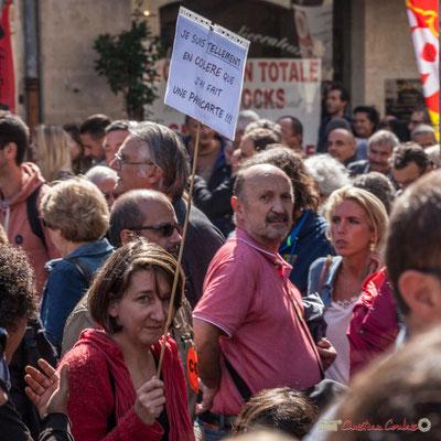 """""""Je suis tellement en colère que j'ai fait une pancarte ! ! !"""" Manifestation contre la réforme du code du travail. Place Gambetta, Bordeaux, 12/09/2017"""