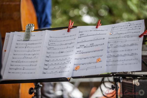 Eric Séva Quartet : partition de Matthieu Chazarenc, batteur. Festival JAZZ360 2016, Camblanes-et-Meynac