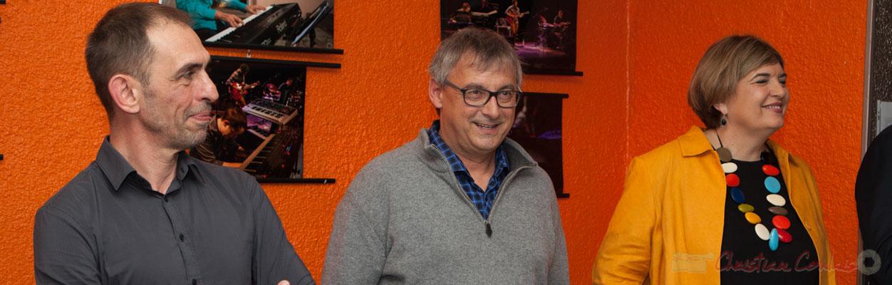 Thierry Tujague, restaurant les Acacias, Richard Raducanu, Président JAZZ360, Catherine Veyssy, Maire de Cénac, Vice-présidente de la Région Aquitaine-Limousin-Poitou-Charentes