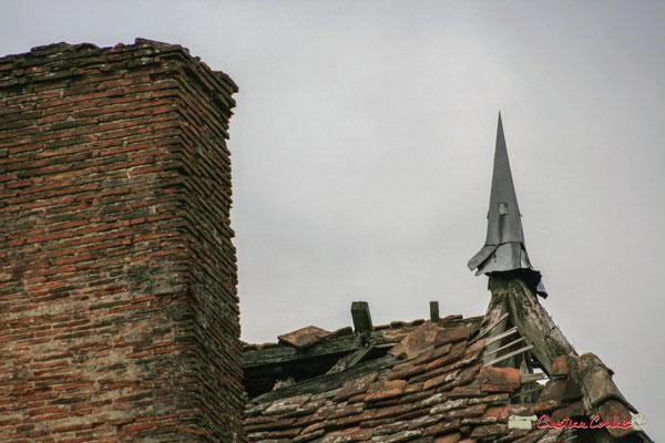 Cheminée et toiture du bâtiment principal (détail). Château de Montignac, Cénac. 02/03/2008