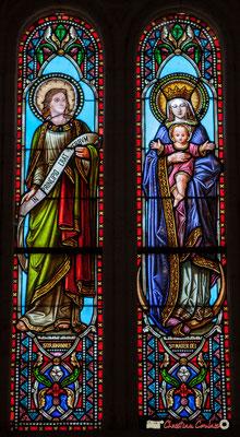 Détail vitrail Saint-Jean, Sainte-Mère-de-Dieu, don de Monseigneur G. Vibert, 1877. Eglise Saint-André, Cénac. 11/05/2018