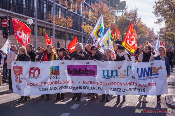 Bannière intersyndicale de cette 4ème manifestation contre les réformes libérales de Macron. Bordeaux, 16/11/2017