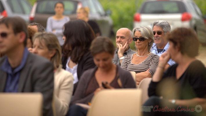 Marc Boussange, élu; Simone Ferrer, Maire de Cénac; Jean-Paul Robert, bénévole JAZZ360. Festival JAZZ360 2012, château Roquebrune, Cénac, samedi 9 juin 2012