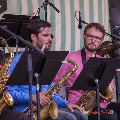 Julien Deforges, Jérôme Mascotto; Big Band du Conservatoire Jacques Thibaud. Festival JAZZ360 2019, parc du château de Pomarède, Langoiran. 06/06/20199