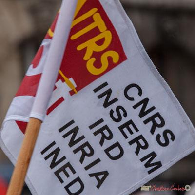 CGT SNTRS CNRS INSERM, IRD, INRIA, INED, de beaux acronymes, mais le fanion est si petit ! Manifestation contre la réforme du code du travail. Place Gambetta, Bordeaux, 12/09/2017