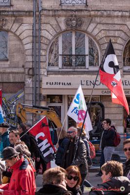 15h00 Confédération Nationale des Travailleurs. Manifestation intersyndicale de la Fonction publique/cheminots/retraités/étudiants, place Gambetta, Bordeaux. 22/03/2018