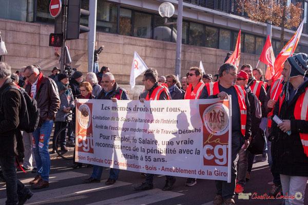 Union syndicale CGT Construction, Bois, Ameublement de la Gironde. Manifestation intersyndicale contre les réformes libérales de Macron. Cours d'Albret, Bordeaux, 16/11/2017