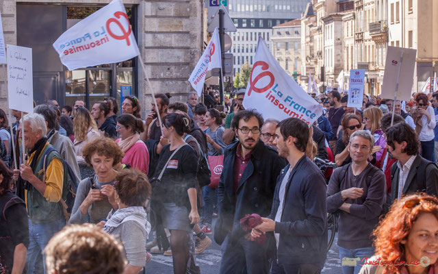 La France insoumise. Manifestation intersyndicale de la Fonction publique, place Gambetta, Bordeaux. 10/10/2017