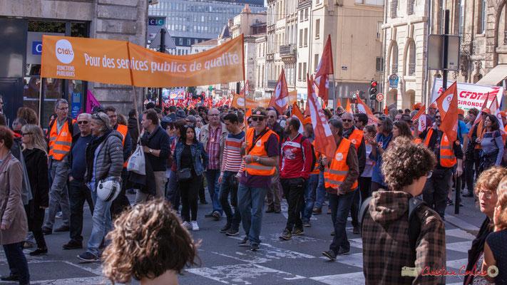 C.F.D.T. Gironde. Manifestation intersyndicale de la Fonction publique, place Gambetta, Bordeaux. 10/10/2017