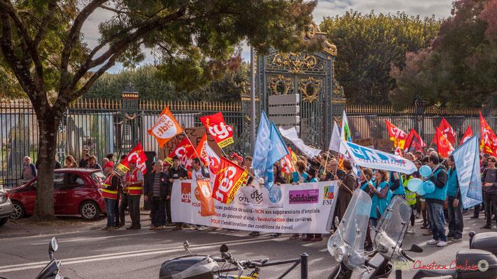 Depuis 10 ans, une manifestation intersyndicale unitaire n'avait existait ! Bordeaux. 10/10/2017