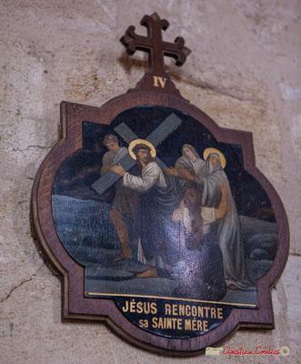 Un des tableaux du chemin de croix, peint sur métal au XXème siècle, installé par l'abbé Henry Péquignot. Eglise Saint-André, Cénac. 11/05/2018