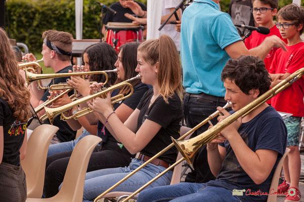 Trompettes et trombone à coulisse. Big Band Jazz du Collège Eléonore de Provence, dirigée par Rémi Poymiro. Festival JAZZ360 2018, Cénac. 08/06/2018