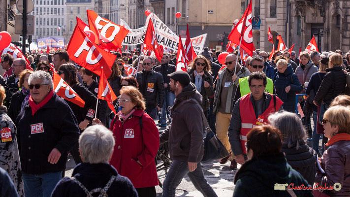 14h36 Force Ouvrière. Manifestation intersyndicale de la Fonction publique/cheminots/retraités/étudiants, place Gambetta, Bordeaux. 22/03/2018