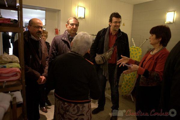Michel Nadaud, Daniel Coz, Vincent Feld, Mireille Ormaechea. Vestiaire solidaire, l'Annexe de la Cabane, 38, rue Amaury de Craon à Créon
