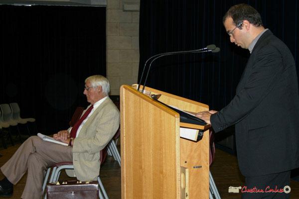Guy Georges, secrétaire général du SNI-PEGC; Christophe Miqueu. Quel avenir pour l'école républicaine et laïque ? Lancement officiel de l'opération nationale Arbres de la Laïcité. Créon, samedi 19 juin 2010