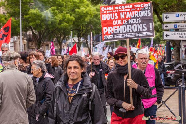 """10h39 C.N.T. """"Quel acquis social n'a pas été obtenu par la lutte ? Nous n'aurons que ce que nous prendrons !"""" Cours d'Albret, Bordeaux. 01/05/2018"""